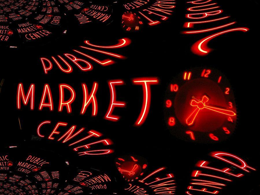 Seattle Digital Art - Pike Place Market Entrance 6 by Tim Allen
