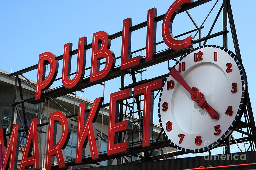 Seattle Photograph - Pike Street Market Clock by Peter Simmons