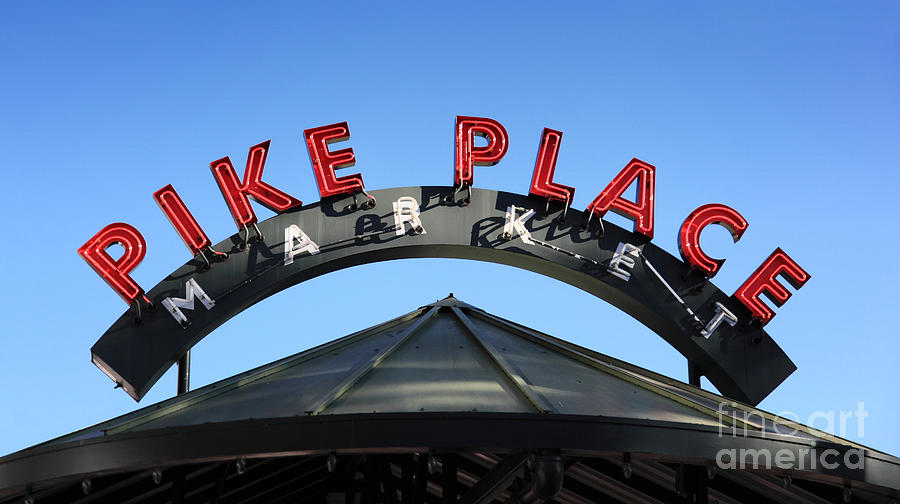 Pike Street Market Sign Photograph by Peter Simmons