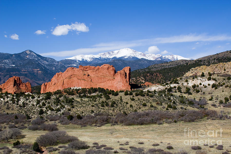 Pikes Peak And Garden Of The Gods Park In Colorado Springs Photograph
