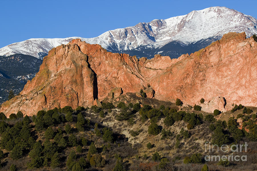 Pikes Peak And Garden Of The Gods Photograph