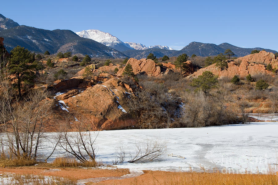 Pikes Peak And Pond In Red Rock Canyon Photograph