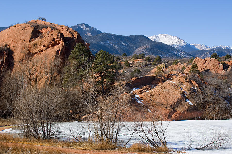 Pikes Peak And Red Mountain From Red Rock Canyon Photograph
