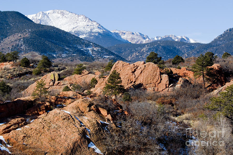 Pikes Peak And Red Rock Canyon Colorado In Winter Photograph