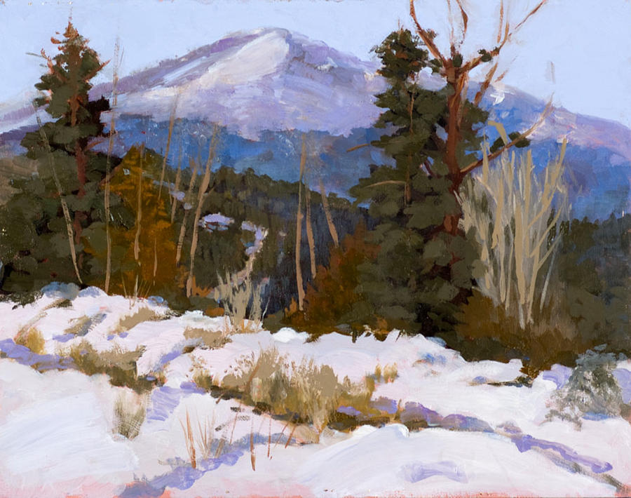 Pikes Peak Winter View Painting by Susan Fowler