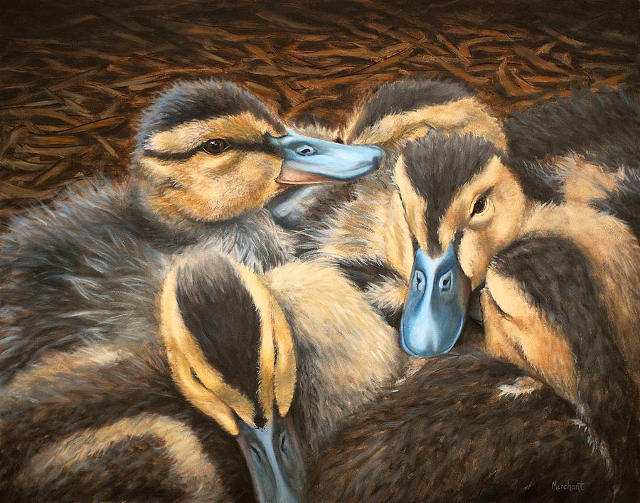 Duck Painting - Pile O Ducklings by Linda Merchant