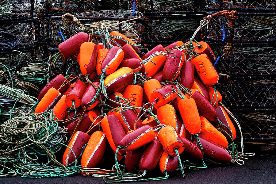 Fishing Photograph - Pile Of Crabpots And Fishnet Buoys Orange And Red by Carol Leigh