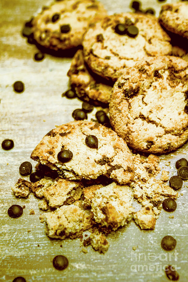Food Photograph - Pile Of Crumbled Chocolate Chip Cookies On Table by Jorgo Photography - Wall Art Gallery