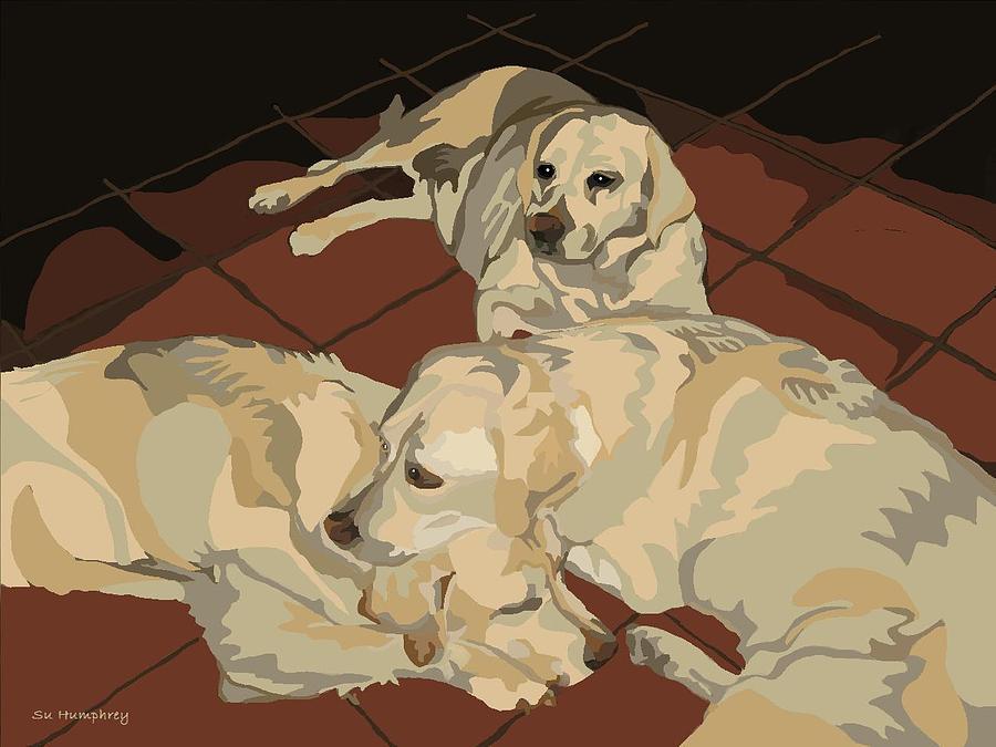 Labradors Digital Art - Pile Of Three Pups by Su Humphrey