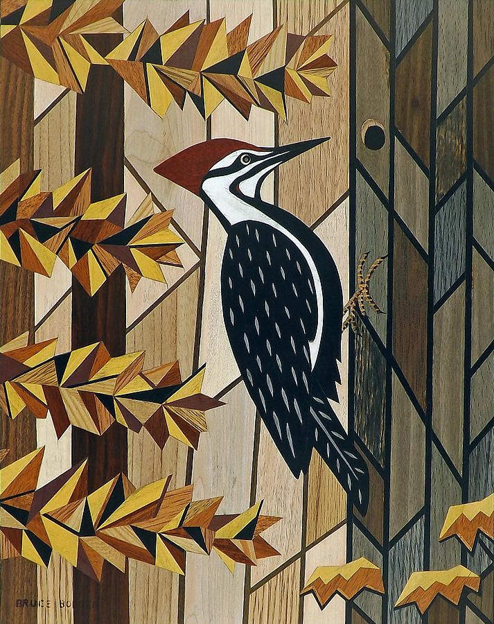 Marquetry Painting - Pileated Woodpecker-Marquetry-Image by Bruce Bodden