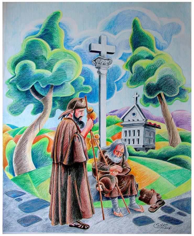 Landscape Drawing - Pilgrims by Armando Salas