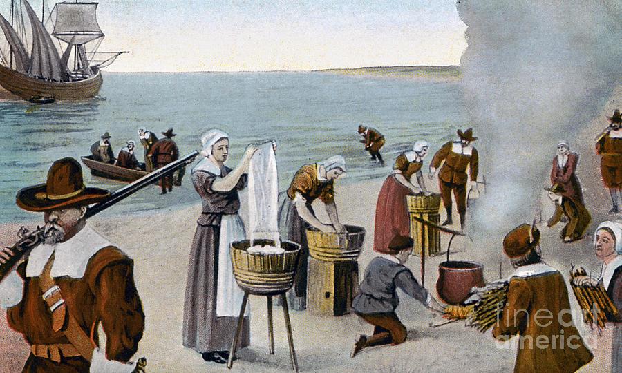 1620 Photograph - Pilgrims Washing Day, 1620 by Granger