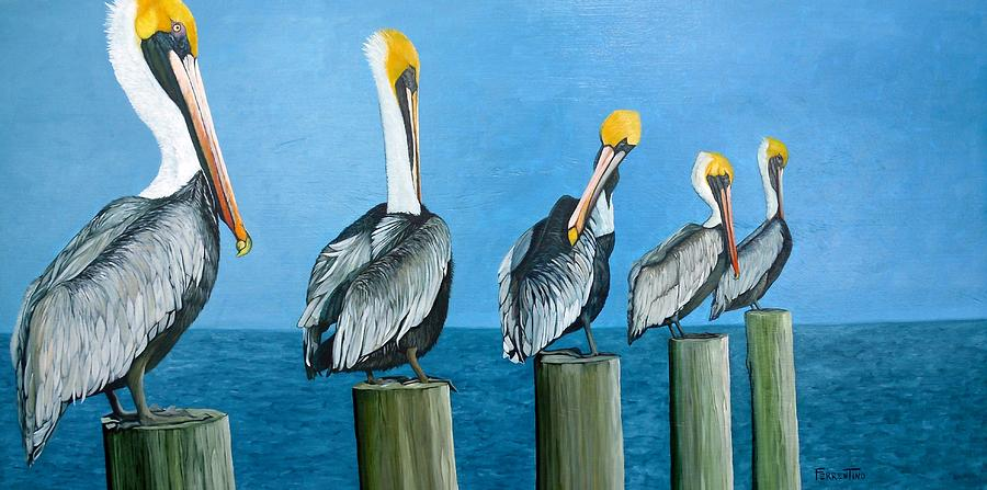Pelican Painting - Piling On by Jon Ferrentino