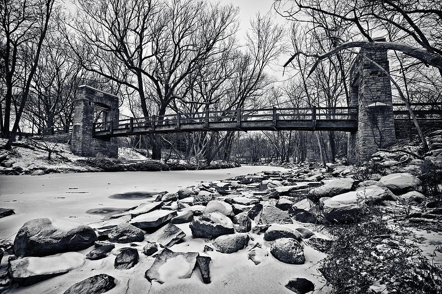 Monochrome Photograph - Pillars On The Shore by CJ Schmit