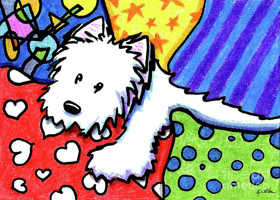 Westie Drawing - Pillow Pile Westie by Kim Niles