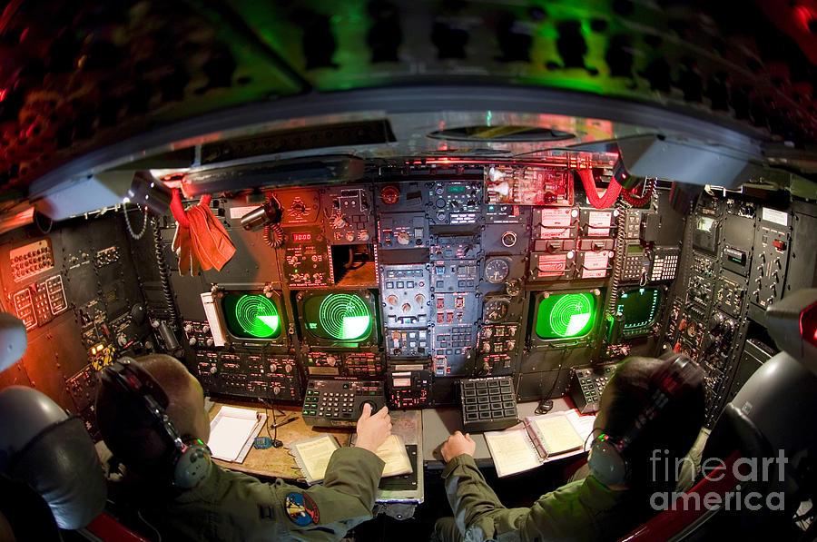 Horizontal Photograph - Pilots At The Controls Of A B-52 by Stocktrek Images