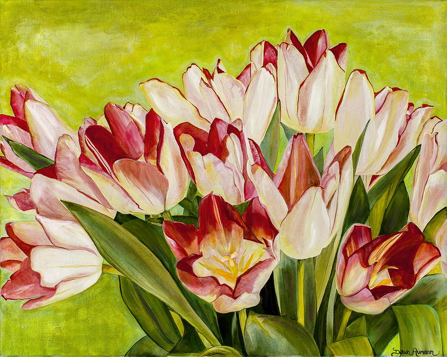 Tulips Painting - Pink Tulips by Dawn Aumann