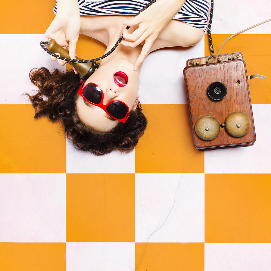 Phone Photograph - Pin-up Beauty Decision Making On Old Phone by Jorgo Photography - Wall Art Gallery