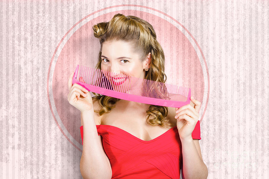 Hair Photograph - Pin Up Hairdresser Woman With Hair Salon Brush by Jorgo Photography - Wall Art Gallery