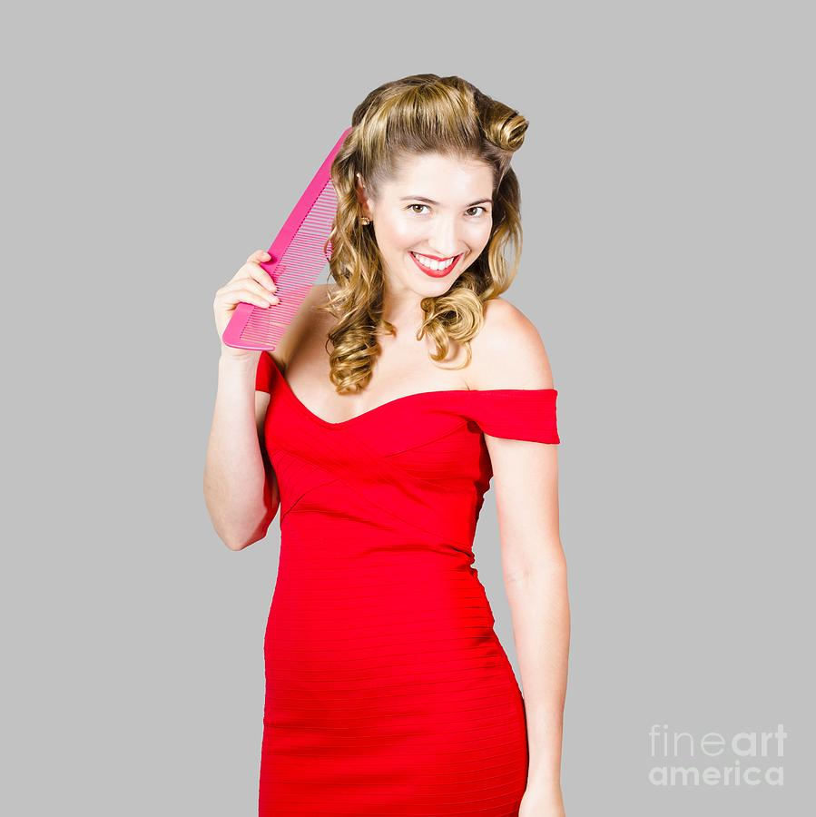 Pin Up Styled Fashion Model With Classic Hairstyle Photograph By