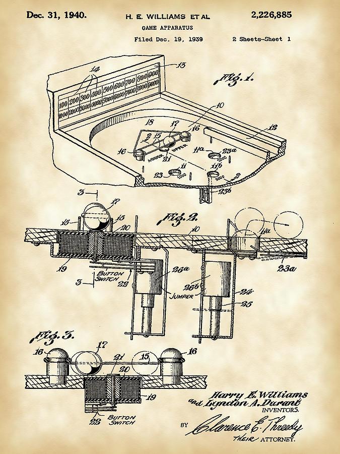 Pinball Digital Art - Pinball Machine Patent 1939 - Vintage by Stephen Younts