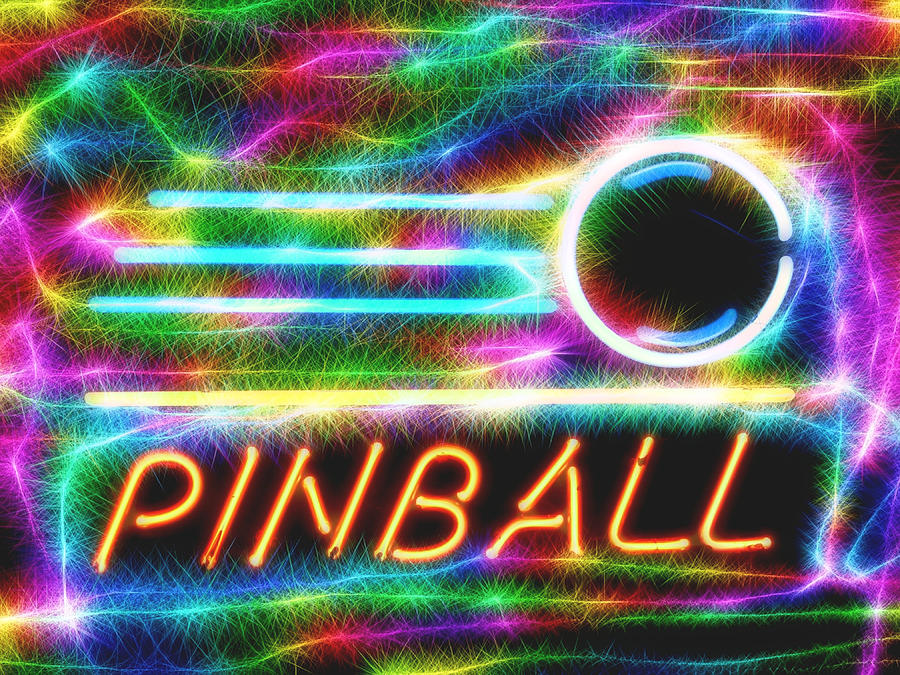 Pinball Game Mixed Media - Pinball Neon Sign by Dan Sproul
