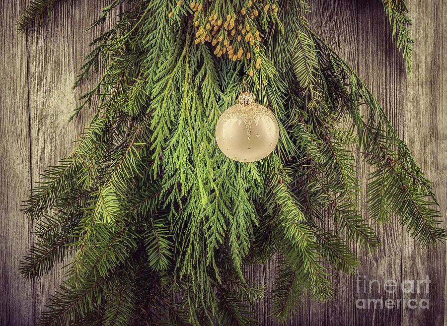 Pine Boughs And Christmas Balls Photograph
