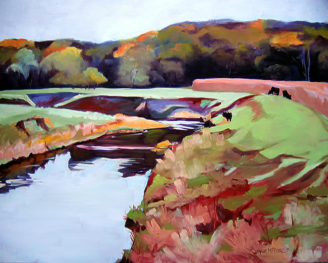 Landscape Painting - Pine Creek In October Sold by Jayne Rose