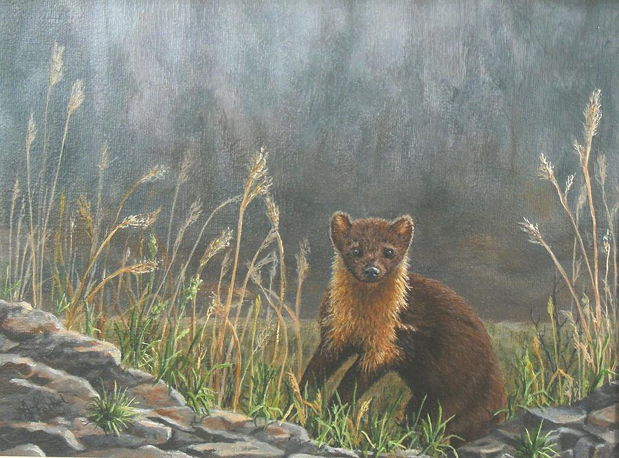 Pine Martin Painting - Pine Martin On The Prowl by Ann Elise