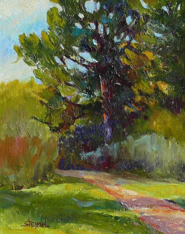 Pine On Park Path Painting by Phyllis Steimel