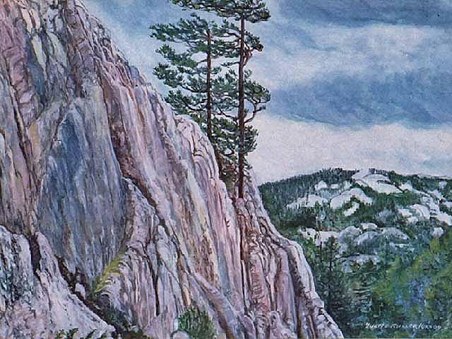 Landscape Painting - Pine Ridge by Yvette Miller