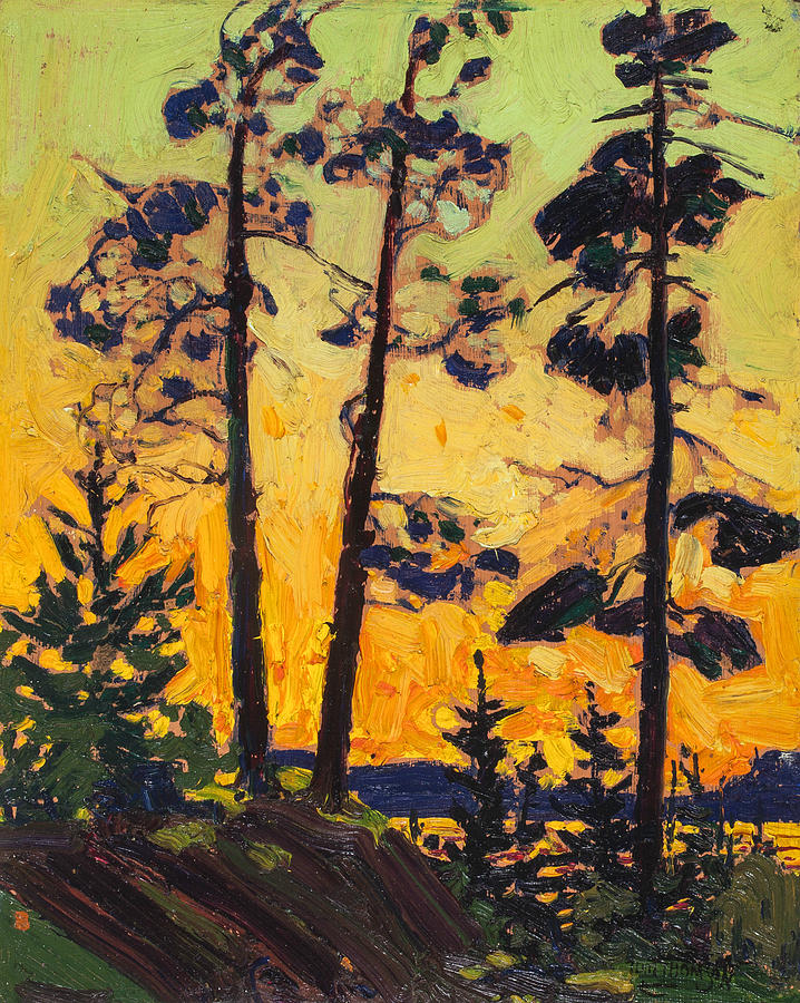 Canadian Painters Painting - Pine Trees At Sunset by Tom Thomson