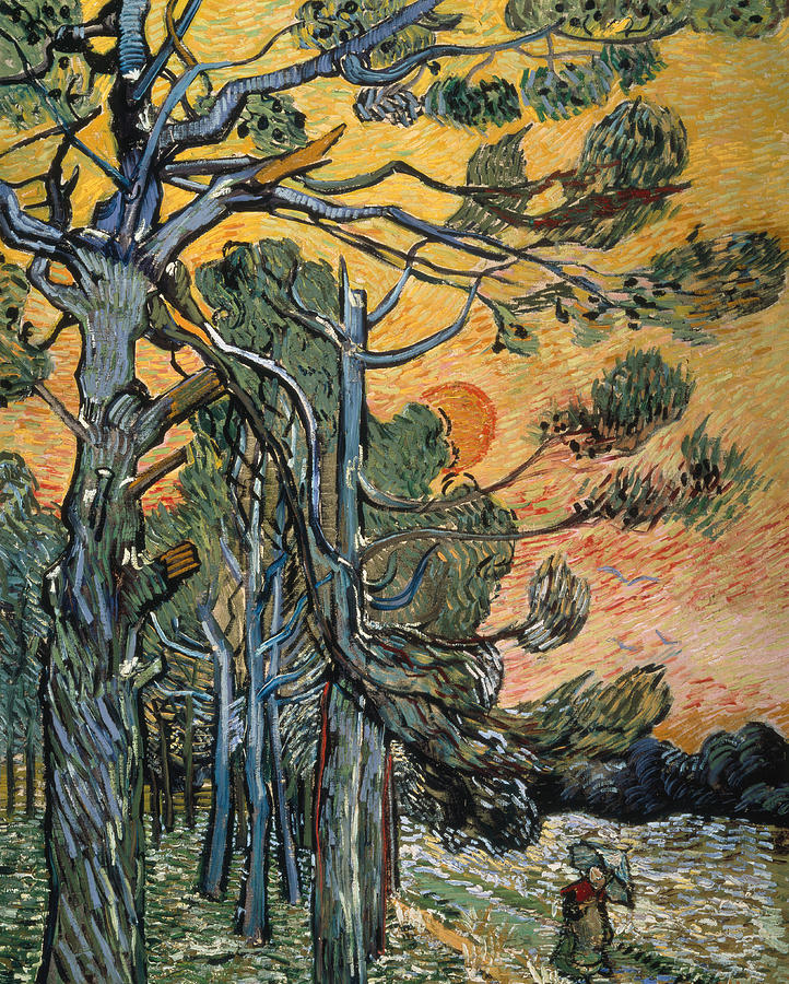 1889 Painting - Pine Trees at Sunset by Vincent van Gogh