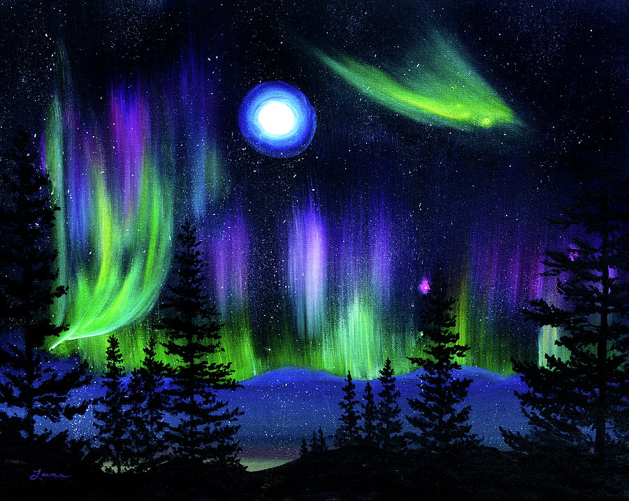 Pine Trees in Aurora Borealis by Laura Iverson