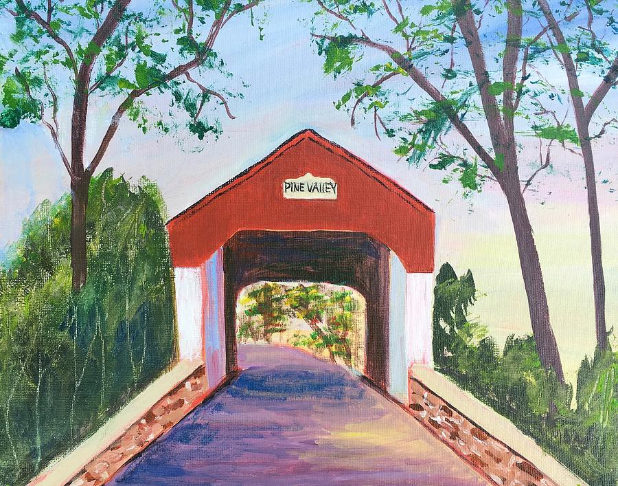 Bucks County Painting - Pine Valley Covered Bridge by Marita McVeigh