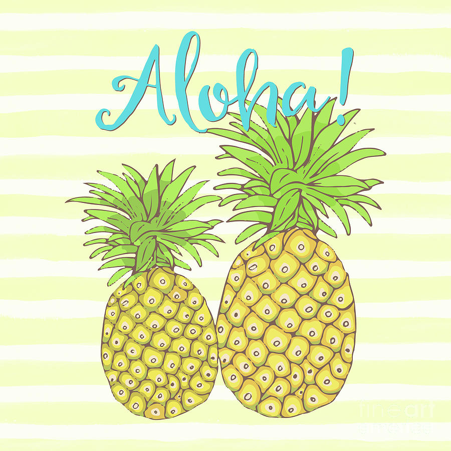 Pineapple Aloha Tropical Fruit Of Welcome Hawaii Painting by Tina Lavoie