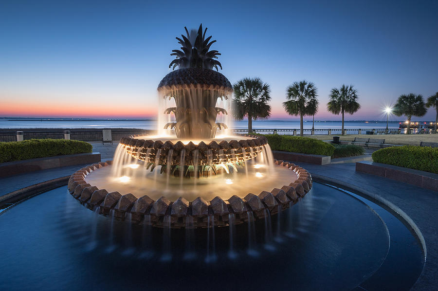 Pineapple Fountain Photograph - Pineapple Fountain Charleston Waterfront Park by Mark VanDyke
