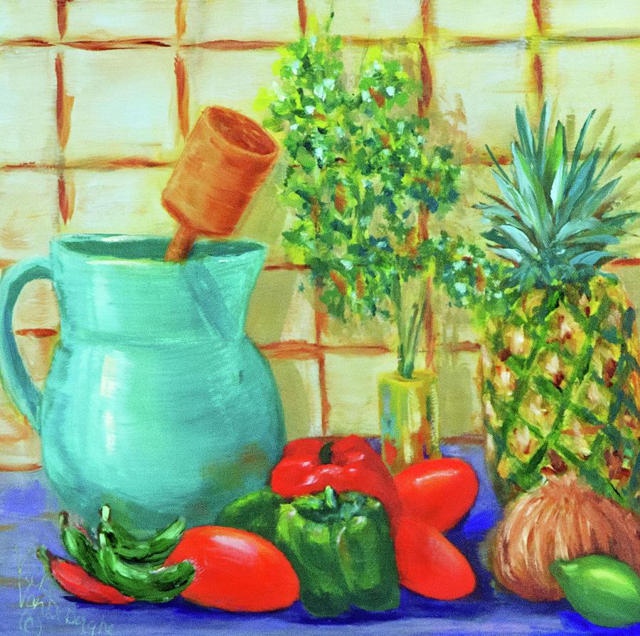 Salsa Painting - Pineapple Salsa by Vicki VanDeBerghe