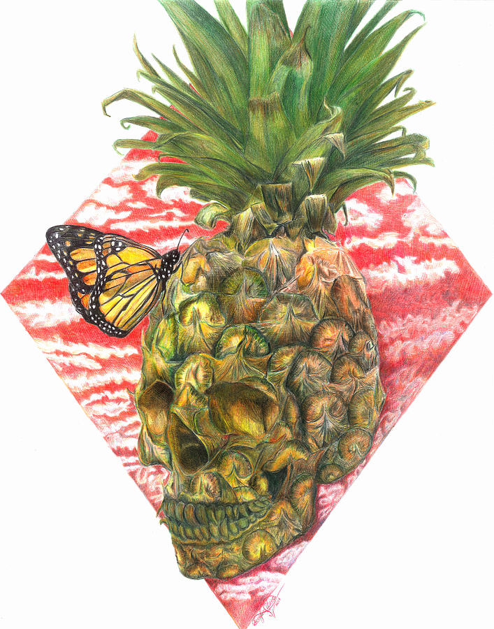 Skull Drawing - Pineapple-skull by Serafin Ureno