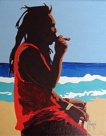 Rastafarian Print - Pineapple With Cigar by Corrie Scott
