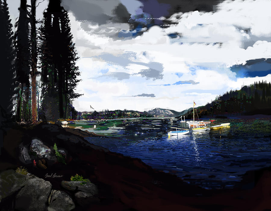 Pinecrest And Boats Painting