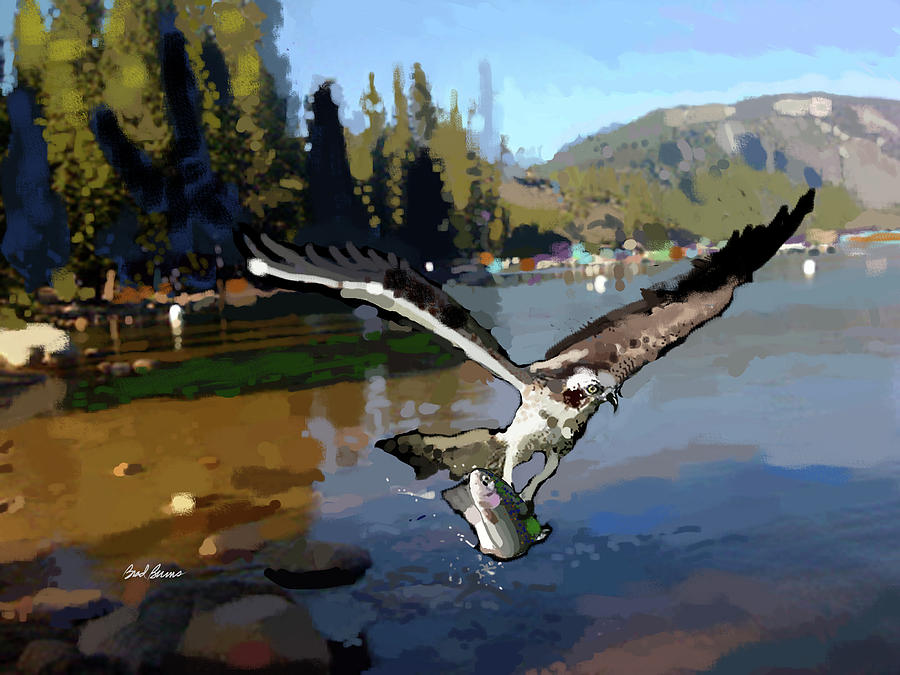 Pinecrest With Osprey And Trout Painting