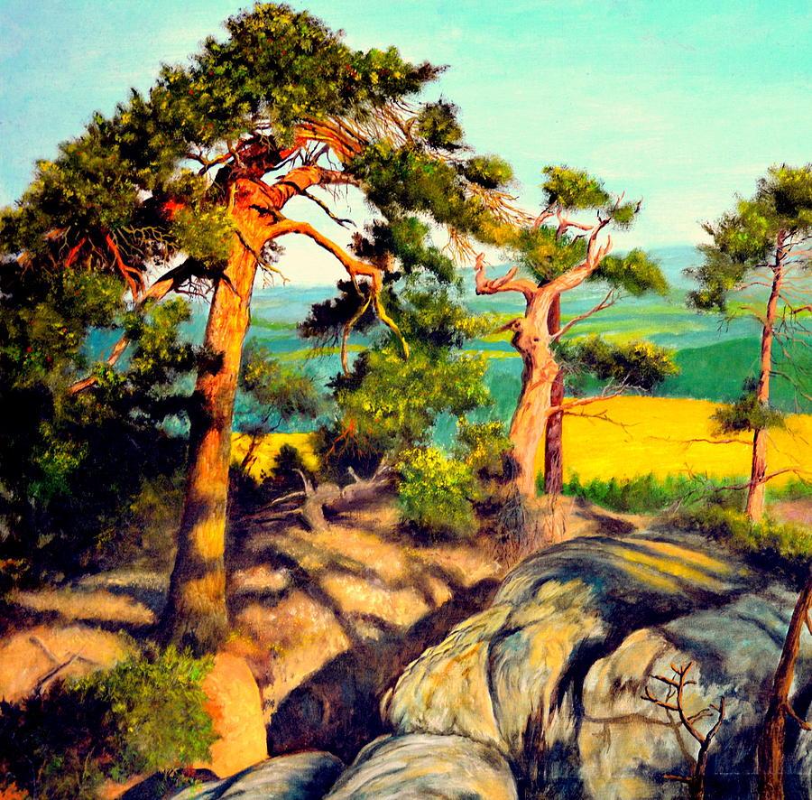 Gorecki Painting - Pines On The Rocks by Henryk Gorecki