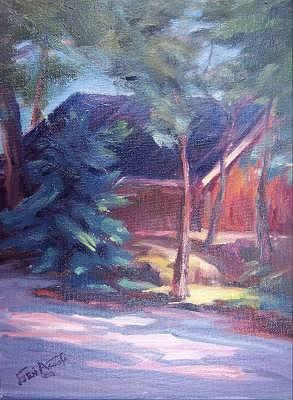Pinetop Cabin Painting by Geri Acosta