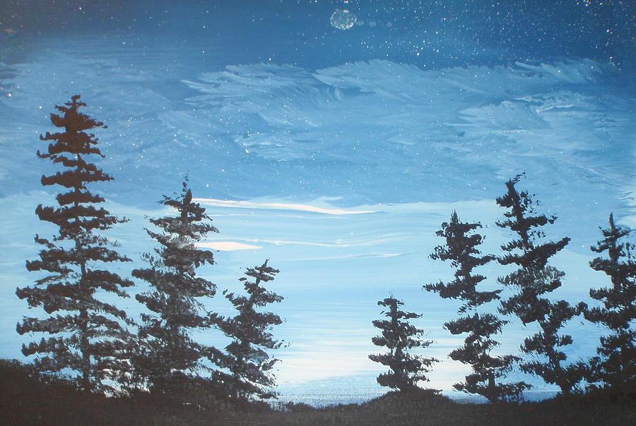 Folk Painting - Piney Sky by Susan Michutka