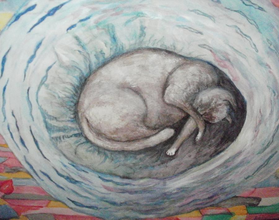 Cat Painting - Ping by Bonnie Wells