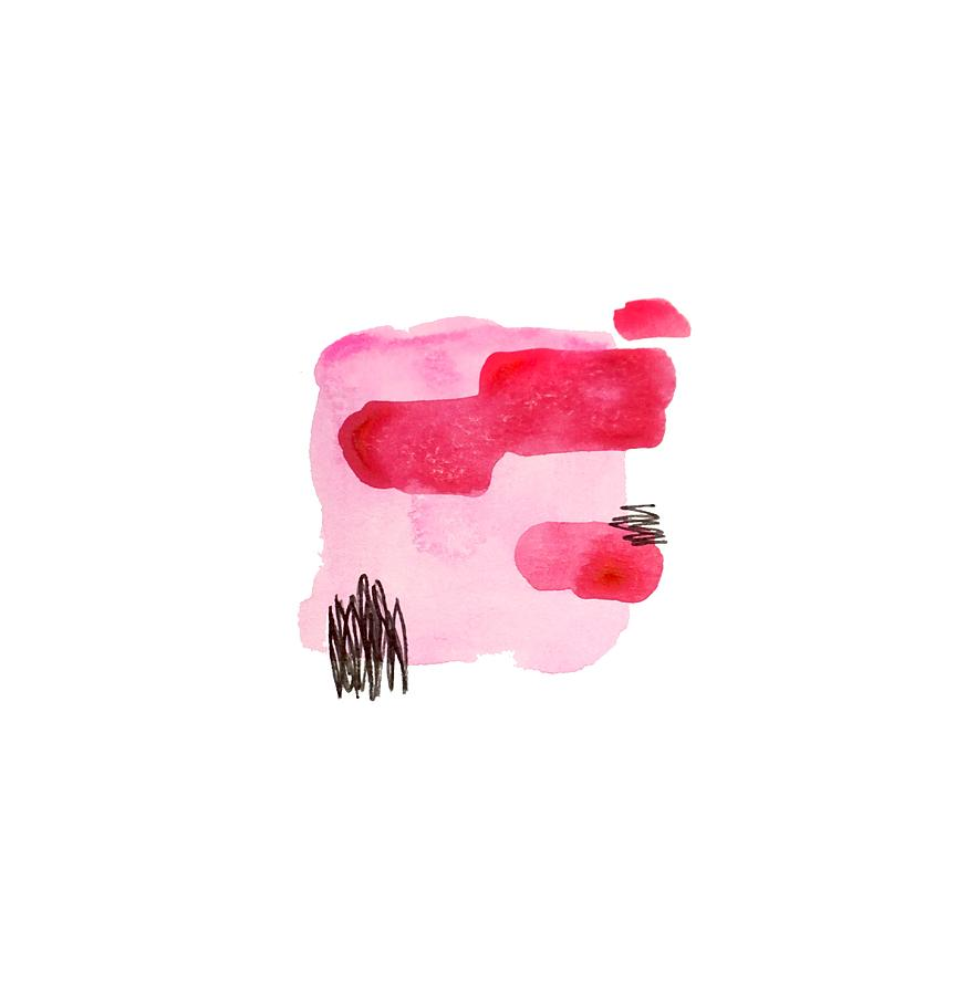 Minimalist Painting - Pink And Black Abstract by Cortney Herron