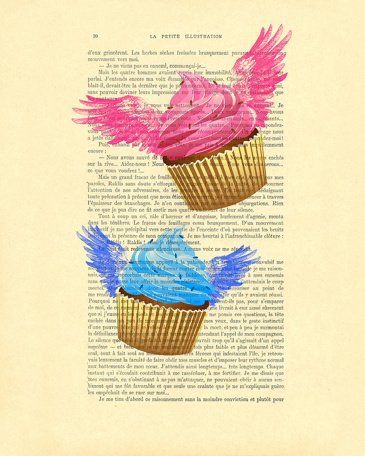 Cupcake Digital Art - Pink And Blue Cupcakes Vintage Dictionary Art by Madame Memento