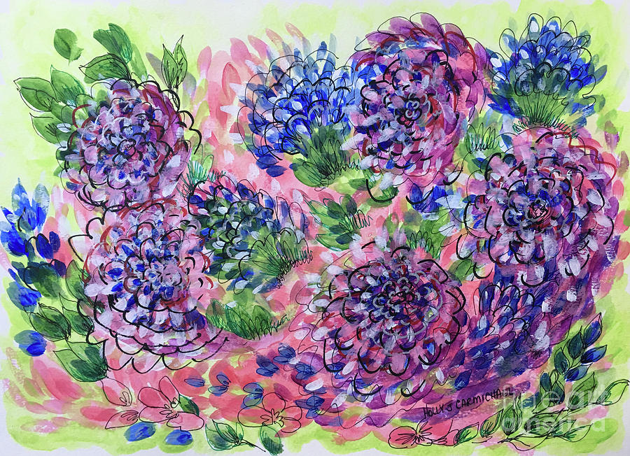 Pink and Blue Flower Flurry by Holly Carmichael