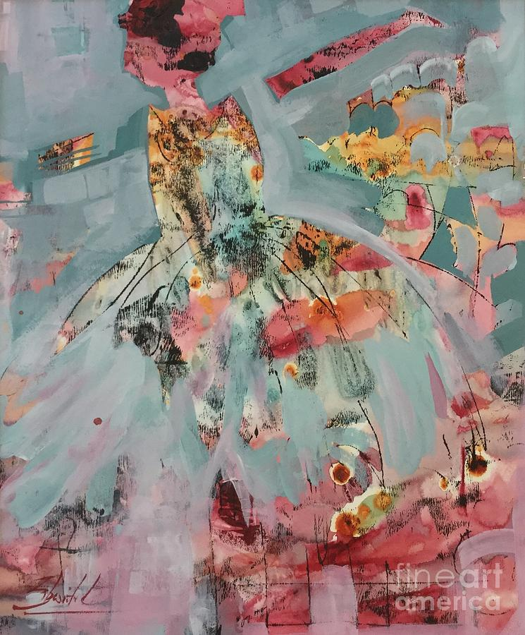 Ballerina Dancer Painting - Pink And Blue Tutu Dancer by Carolyn Zbavitel